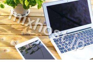 パソコンとiPadと葉っぱ